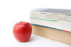 Book and apple on white backgound Stock Image
