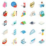 Book art icons set, isometric style. Book art icons set. Isometric set of 25 book art vector icons for web isolated on white background Stock Image