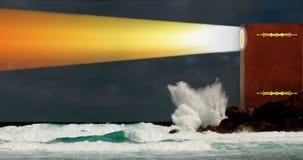 Book as lighthouse. Panorama of night stormy sea. royalty free stock photos