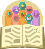 Book as a Source of Knowledge. Modern flat illustration of a book as the source of knowledge with different educational symbols Stock Image