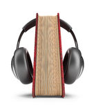 Book with audio headphones. 3D Icon  Royalty Free Stock Images