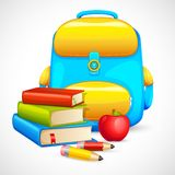 Book Bag and Apple Stock Image