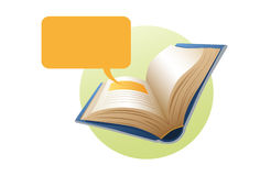 Book with balloon text Stock Photography