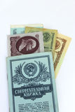 Book of bank of the USSR and the Soviet roubles. Savings-bank book of bank of the USSR and the Soviet roubles Royalty Free Stock Images