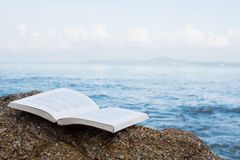 Book On The Beach Concept. Blank Open Book On The Stone Royalty Free Stock Images