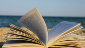 Book on beach stock footage