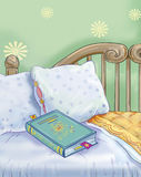 Book and bed Royalty Free Stock Images