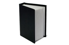Book with a black cover. Book with a black hard cover isolated on white background royalty free stock image