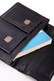 Book in black schoolbag Royalty Free Stock Photo