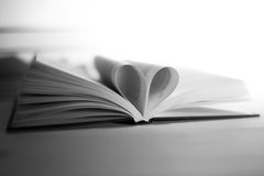 Book, black and white. Book with heart, black and white Royalty Free Stock Photos