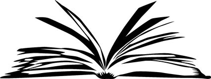 Book. Black and white illustration of the open book Stock Image
