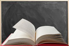 Book and blackboard. Open book in front of chalkboard Stock Image