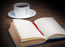 Book with blank pages on wooden surface Stock Photography