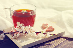Book, blossoming apricot branch, two hearts and a cup of tea Stock Photography