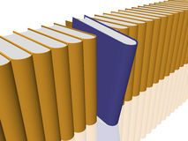 Book in blue. 3d Render of various books in yellow. The selection is in blue Royalty Free Stock Photos