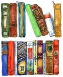 Book. Book watercolor illustration. Books shelf background.