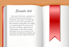 Book with bookmark. Book and bookmark with area for text stock illustration
