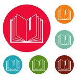 Book bookmark icons circle set vector. Isolated on white background Stock Images