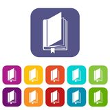 Book with bookmark icons set Royalty Free Stock Image