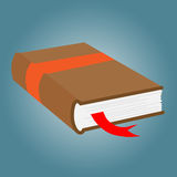 Book with bookmark. Illustration isolated on blue background Royalty Free Stock Photo