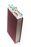 Book with bookmarks. Bookk with colorful bookmarks (paper sticks Royalty Free Stock Images