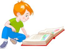 Book boy. Boy  sitting on floor and reading a book Stock Image