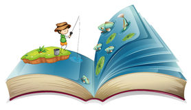 Book of boy fishing in the pond Stock Photography