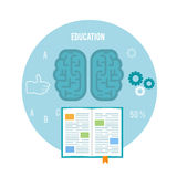 Book with brain. Education concept Royalty Free Stock Photo