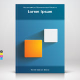 Book or brochure blue cover design with square elements Royalty Free Stock Photo