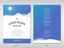 Book, brochure, flyer or report cover template design in moonlight and mountain theme A4 size. Book, brochure, flyer or report cover template design in moonlight vector illustration