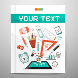 Book - Brochure - Leaflet Layout with School Items Royalty Free Stock Photos