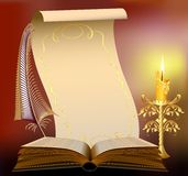Book  with burning candle and feather papyrus. Book illustration with burning candle and feather papyrus Royalty Free Stock Images