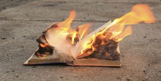 Book with burning pages on a concrete surface royalty free stock photos