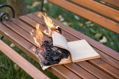 The book burns. Royalty Free Stock Photos