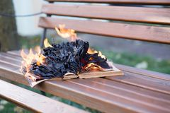 The book burns. Stock Photos