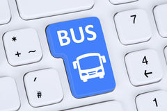 Book a bus or coach online internet booking computer Royalty Free Stock Images