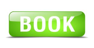 Book button. Book square 3d realistic isolated glass web button. book Royalty Free Stock Image
