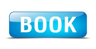 Book button. Book square 3d realistic isolated glass web button. book Stock Image