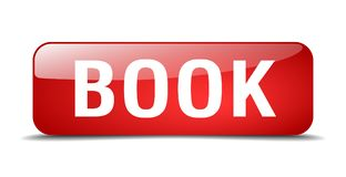 Book button. Book square 3d realistic isolated glass web button. book Royalty Free Stock Photo