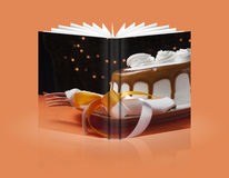 Book of cake with cream and chocolate Stock Image