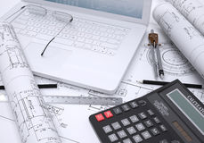 The book, calculator, paper and laptop. 3d rendering. The concept of new technologies Stock Images