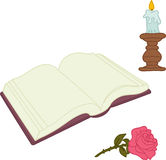 Book, candle and rose, isolated on white Stock Image