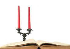 Book and candles Royalty Free Stock Photo