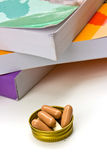 Book and  capsule pills Stock Photography