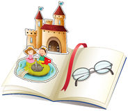 A book with a castle and a reading glasses stock illustration
