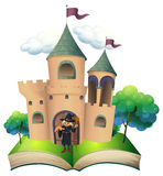 A book with a castle and a witch. Illustration of a book with a castle and a witch on a white background Stock Photo