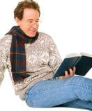 book caucasian happy man reading senior Στοκ Φωτογραφία