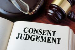 Consent judgement and a gavel. Stock Photo