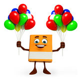 Book Character with balloons Stock Image