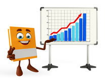 Book Character with business graph Stock Photo